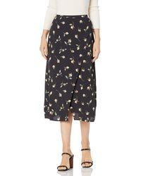 PAIGE Costa Faux Wrap Midi Skirt - Black