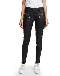 PAIGE Denim Edgemont Ultra Skinny Black Silk Wash W/zips