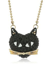 "Betsey Johnson ""skeletons After Dark"" Pave Cat Pendant Necklace - Black"