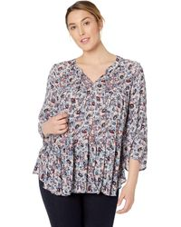 Lucky Brand Plus Size Ditsy Floral Tiered Peasant Top - Multicolor