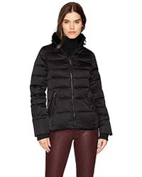 William Rast High Stand Collar Quilted Jacket - Black