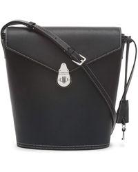 Calvin Klein Statement Series Lock Daytona Leather Bucket Bag - Black