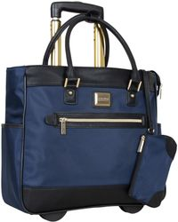 """Kenneth Cole Reaction Runway Call 17"""" Laptop Anti-theft Rfid Wheeled Business Carry-on Tote - Blue"""