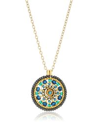 Miguel Ases Sapphire Wave And Swarovski Center Circle Pendant Necklace - Metallic