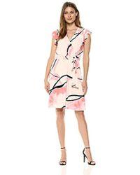Ivanka Trump Cap Flutter Sleeve Wrap Dress - Pink