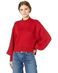 Keepsake Strange Love Puff Sleeve Mock Neck Knit Sweater Top - Red