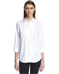 SOCIETY NEW YORK Pleated Front Tunic Shirt - White