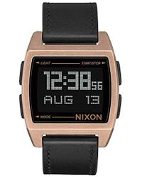 Nixon Base Stainless Steel Quartz Watch With Leather-synthetic Strap, Brown, 22 (model: A1181872)
