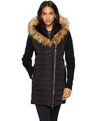 Calvin Klein - Performance Walker Jacket W/sweater Rib & Drama Collar Fur Trimmed Hood - Lyst