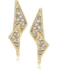 "Rebecca Minkoff ""caged Stud"" Gold Crystal Pave Double Triangle Earrings - Metallic"