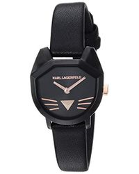 Karl Lagerfeld - Camille Quartz Stainless Steel And Leather Casual Watch, Color Black (model: Kl2621) - Lyst