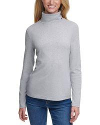 Tommy Hilfiger Long Sleeve Turtleneck Sweater - Gray