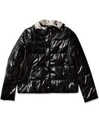Emporio Armani Black Button Front Puffer