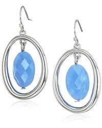 T Tahari - Blue Bead Silver Drop Earrings - Lyst