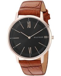 Tommy Hilfiger Casual Stainless Steel Quartz Watch With Leather Strap - Brown