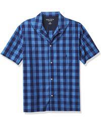 Nautica Short Sleeve 100% Cotton Soft Woven Button Down Pajama Top - Blue