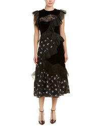 Rebecca Taylor Sleeveless Floral Jacquard Dress - Black