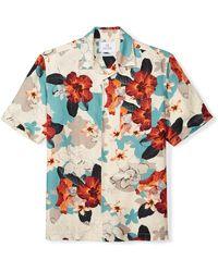 28 Palms Relaxed-fit Silk/linen Tropical Hawaiian - Blue