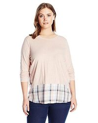 Two By Vince Camuto Plus Size Long Sleeve Mixed Media Canyon Plaid Top - Multicolor