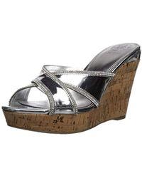 c67690b1cb64 Lyst - Guess Babsi Wedge Sandal in Metallic - Save 41%