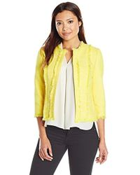 Kasper - Petite Size Jewel Neck Tweed Flyaway Jacket - Lyst