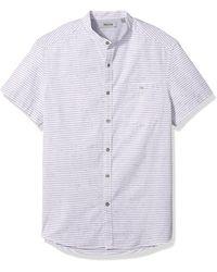 Kenneth Cole Reaction Short Sleeve Band Collar Nep Stripe Shirt - White