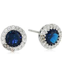 CZ by Kenneth Jay Lane - Round Blue Sapphire Cubic Zirconia Stud Earrings With Halo, Blsi, One Size - Lyst