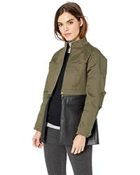 BCBGMAXAZRIA Faux Leather-trimmed Peplum Jacket - Green