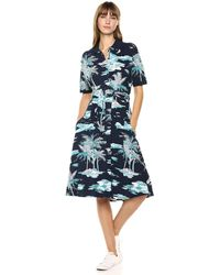 Lacoste S/s Belted Hawaiian Print Pique Polo Dress - Blue