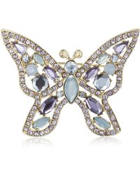 """Napier """"giftables"""" Boxed Silver-tone And Blue Purple Butterfly Pin - Metallic"""