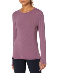 Jockey Long Sleeve Brushed Stripe Pullover - Purple