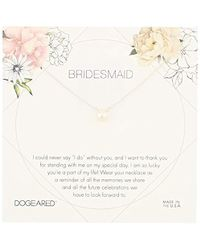 """Dogeared - Bridesmaid Flower Card Small Button White Pearl Chain Neckalce, 16"""" + 2"""" Extension - Lyst"""