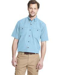 G.H.BASS Explorer Short Sleeve Fishing Shirt Solid Button Pocket - Blue