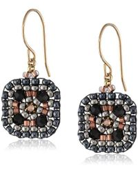Miguel Ases Small Square Drop Earrings - Black