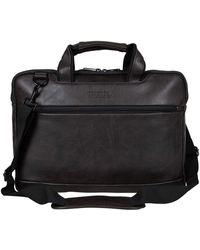 "Kenneth Cole Reaction Protec Pebbled Vegan Leather Slim 16"" Laptop & Tablet Top Zip Business Briefcase Travel Bag - Brown"