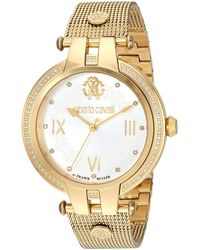 Roberto Cavalli Diamond Classic Swiss Quartz Watch With Gold Tone Strap - Metallic