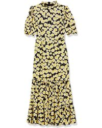 Donna Morgan Georgette Floral Tiered Dress - Yellow