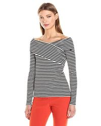 b11868fae68c95 Lyst - Theory Kellay Off-the-shoulder Top in Gray