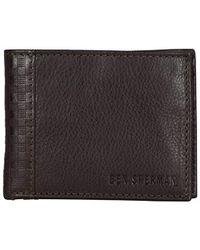 Ben Sherman Leather Bi-fold Five Pocket Wallet With Id Window (rfid) - Brown