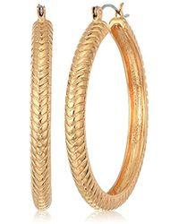 T Tahari - Essentials Btgd Hoop Earrings, Color Gold, One Size - Lyst