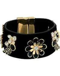 Guess - Wide Cuff With Magnetic Close And Stones Jet, Gold (gold) Bracelet - Lyst