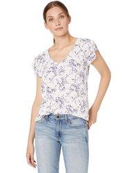 Nine West Plus Size Pebble Bubble Crepe Short Sleeve Printed V-neck Blouse - White