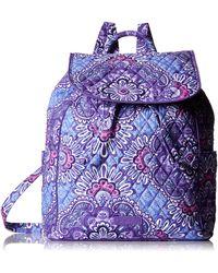 Vera Bradley Signature Cotton Drawstring Backpack - Blue