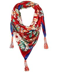Johnny Was Patterned Silk Square Scarf With Tassels - Red