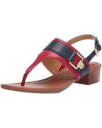 Tommy Hilfiger Block Heel Sandal Red 8.5 M Us