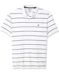Nautica Big Classic Short Sleeve Striped Polo Shirt - White