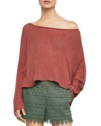 BCBGMAXAZRIA Long-sleeve Asymmetrical Knit Top - Red
