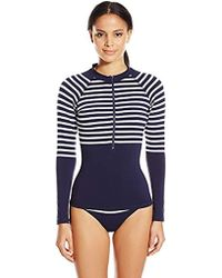 Shoshanna - Striped Jersey Zip Front Rash Guard - Lyst