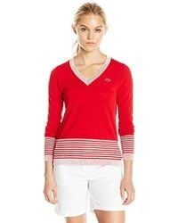 Lacoste - Long Sleeve Placement Cotton Crepe Vneck Sweater - Lyst