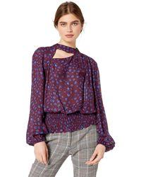 Parker Gavin Long Sleeve High Neck Smocked Blouse - Purple